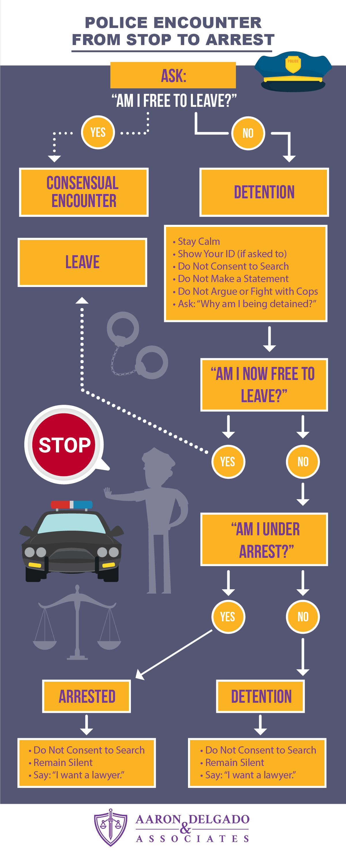 police encounter from stop to arrest infographic